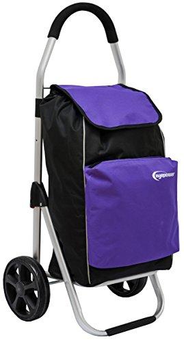 Eyepower 52L Einkaufstrolley Kühlfach Faltbarer Einkaufsroller 100x43x38cm Shopping Trolley Einkaufswagen Shopper Lila