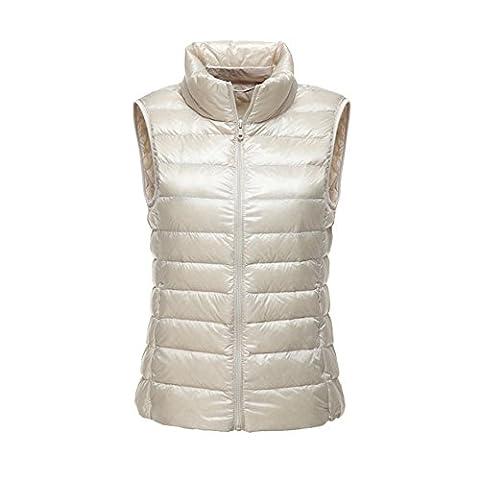 Doudoune Gilet Sans Manches 90% Duvet de Canard Blanc Femme Ultra Léger Zip Chaud Hiver Veste Compressible Casual Blouson Courte Manteau Blanc Large
