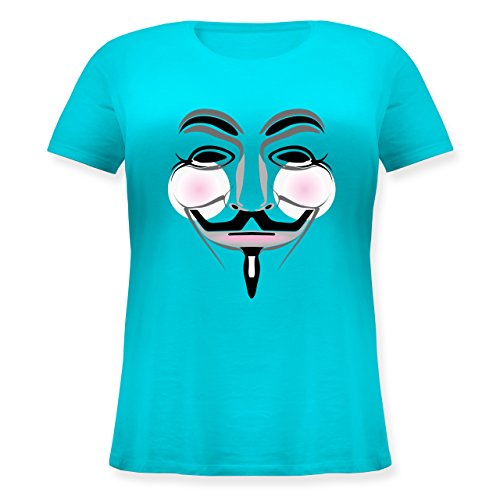 Nerds & Geeks - Anonymous Hacker Maske mit Backen - M (46) - Hellblau - JHK601 - Lockeres Damen-Shirt in großen Größen mit Rundhalsausschnitt