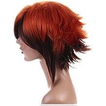 Cosplayland C475 - Yu-Gi-Oh! GX Jaden Yuki 2-Colour orange + brown flip out Layered Wig (peluca)