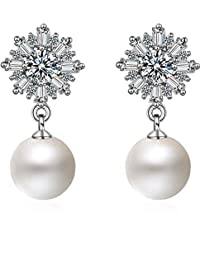 Shining Diva Fashion Latest Design Stylish Crystal Pearl Silver Plated Earrings for Women