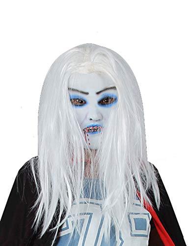 JI Bin Shop® Halloween Horror Maske Weiß Lange Haare Latex Maske Schulparty Karneval Requisiten Beide Größen Sind Für Männer Und Frauen Erhältlich +