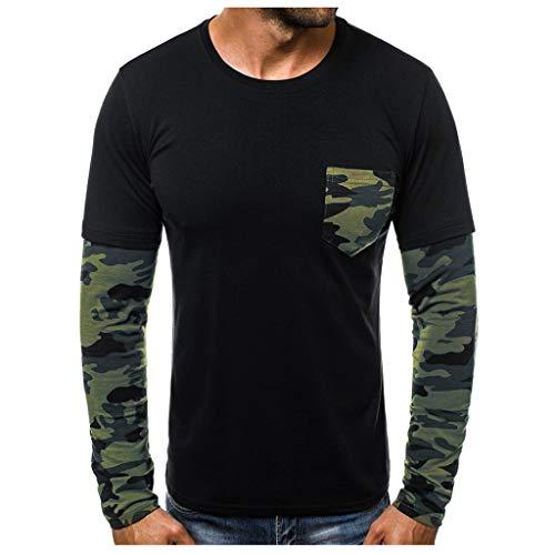 TAMALLU Herren T-Shirts Lässig Bedruckt Rundkragen Bunt Patchwork Tops(Schwarz,XL) (Koala Bär Kostüm Für Hunde)