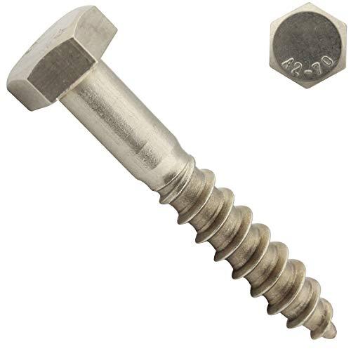 25 Stück Schlüsselschrauben (Sechskant Holzschrauben) - 8x80 mm - DIN 571 - Wiener Schrauben - Edelstahl A2 V2A - SC571 - SC-Normteile