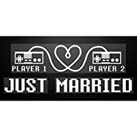 "Geek-Love Affirmations: 8-Bit Love""Just Married"" Static Cling Decal"
