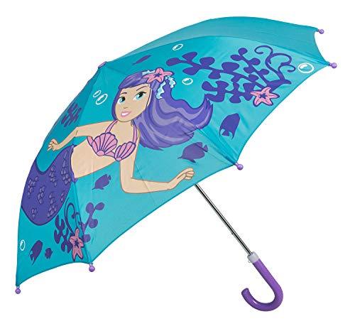 Idena 53090 - ombrello per bambini e bambine, ca. diametro: 70 cm, motivo: sirena, colore: turchese