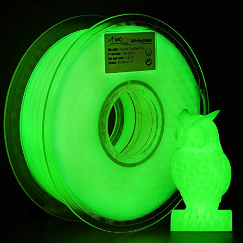 AMOLEN 3D Drucker Filament Glow in the Dark Grün, PLA Filament 1.75mm 1KG(2.2lb),+/- 0.03 mm 3D Drucker Materialien, enthält Proben Glänzendes Lila Filament. (Glow In The Dark Blau)