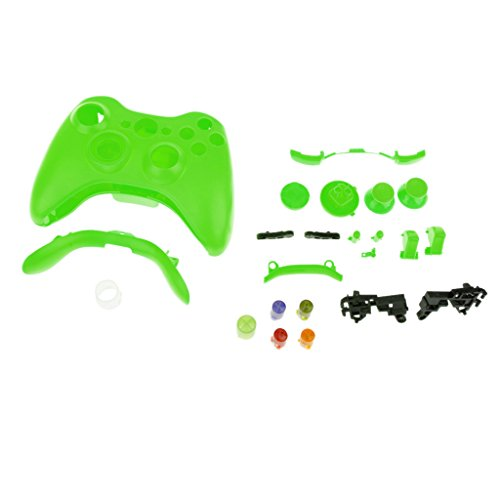 Full Housing Button Case Cover Hülle Mod Kit Ersatz für Xbox 360 Controller - Grün (Und 360-controller Xbox Shell)