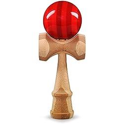 Kendama de madera de bambú de la marca Ganzoo, modelo Red Flash, original de Japón, juego tradicional de madera, se entrena la habilidad y la coordinación, pintura elegante, bola de 6cm de diámetro, acabado de color rojo brillante con rayas grises, superficie lacada, juego de habilidad