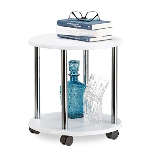 Tisch Kleiner Runder (Relaxdays Beistelltisch rollbar, Allzweckwagen Holz mit 4 Rollen, Couchtisch mit 2 Ebenen, MDF, HBT: 41,5x40x40cm, weiß)