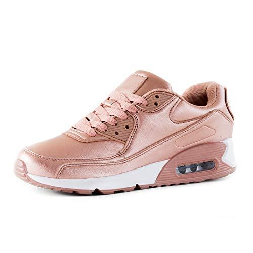 Marimo Trendige Damen Laufschuhe Schnür Sneaker Sport Fitness Turnschuhe Industry Pink 37