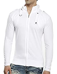 Tees Collection Men's Full Zip Buckle Neck Full Sleeve White Colour T-shirt
