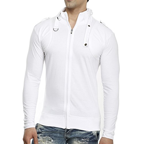 Tees-Collection-Mens-Full-Zip-Buckle-Neck-Full-Sleeve-White-Colour-T-shirt