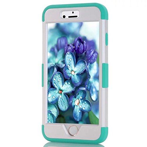 IPhone 6 Case Plus, Lantier 3 en 1 coque en plastique dure avec silicone High Impact antichoc clouté strass cristal Bling Heavy Duty hybride robuste Housse de protection pour IPhone 6 Plus [Rose/Noir] Iphone 6 plus White/Blue