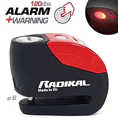 RADIKAL RK9Antifurto Blocca Disco Allarme 120 db, ø 6 mm Universale
