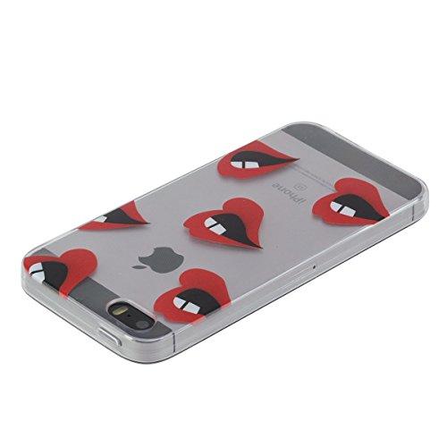 Apple iphone SE Hülle,iphone 5s Transparent Crystal Klar Case,Ekakashop Ultra Dünn Slim Modisch Durchsichtig BOO Muster Weiche Silikon TPU Flexible Gel Case Crystal Defender Protective Schutzhülle Bum Lippen