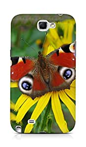 Amez designer printed 3d premium high quality back case cover for Samsung Galaxy Note 2 N7100 (Peacock butterfly)