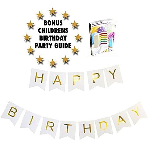 Bianco e Oro Foiled Happy Birthday Striscione con bandierine. Partito guida inclusi