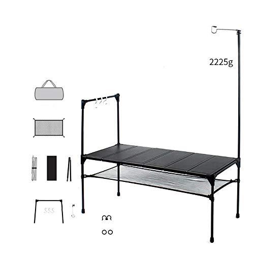 ZJY Camping-Klapptisch, leicht, tragbar - 6 Blatt Aluminium-Tischplatte zum freien Spleißen - mit leichtem Aufstell-Einstecknetz für das Barbecue im Hinterhof am Strand (Holz-herd-licht)