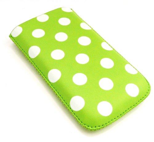Emartbuy® Tupfen Grün/Weiß Pu-Leder-Tasche/Case / Sleeve/Halter (Groß) Mit Pull Tab Mechanismus Für Virgin Mobile Vm 820 (Virgin Mobile Große Handys)