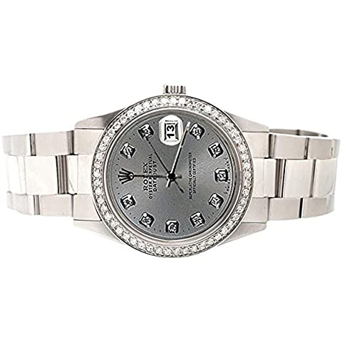 Rolex grigio Diamond Dial lunetta Datejust orologio bracciale oyster in SS