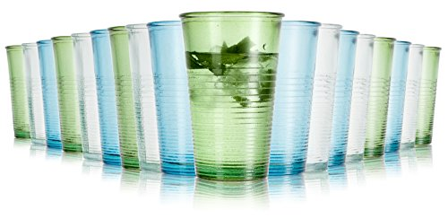 Jamie Oliver recycelte Gläser / 18-teiliges Set / 300 ml / Wassergläser / In 3 verschiedene Farben / Spülmaschinenfest