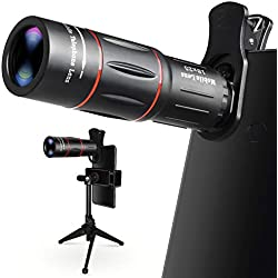 Objectif Smartphone, 18X Zoom Téléobjectif avec Trépied, Lentille HD de Téléphone pour iPhone, Samsung, Android, Télescope Monoculaire