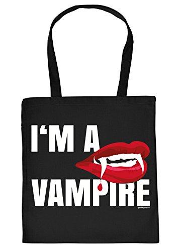 Stofftasche/Einkaustasche/Spaß-Motiv-Tasche Thema Halloween: I´m a Vampire - Geschenkidee