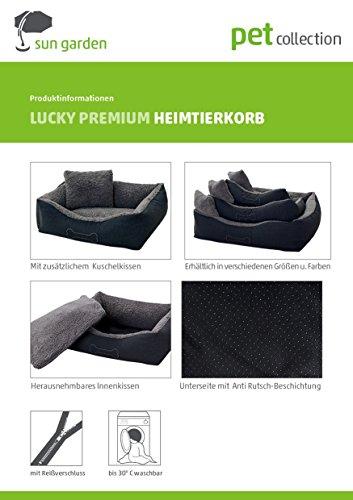 Homeoutfit24 Lucky Hundekorb Premium S 59 x 67 x 20 cm grau anthrazit Bezug waschbar mit Wendekissen weich Plüsch kuschelig Fell Hundebett Hundematte Hundedecke - 6