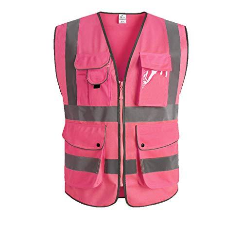 Reflektierende weste nacht sicherheit fluoreszierende schutzkleidung bau verkehrsfahrer reiten (Color : Pink, Größe : S)