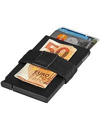 Edles Kreditkartenetui Herren aus Aluminium mit Geldklammer und Münzfach, extraleicht - Kartenetui Alu schwarz mit RFID Schutz, Metall Mini Portemonnaie, Slim-Wallet Kartenhalter