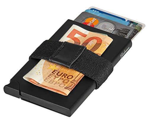 Edles Kreditkartenetui Herren aus Aluminium mit Geldklammer und Münzfach, extraleicht - Kartenetui Alu schwarz mit RFID Schutz, Metall Mini Portemonnaie, Slim-Wallet Kartenhalter (Geldbörse Flache Metall)