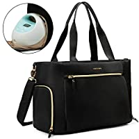 momore Nappy Chaing Bag Including Laptop Compartment Breast Pump Bag Multifunction Diaper Tote Bag Fit for Most Breast Pumps Like Medela, Spectra S1,S2, Evenflo