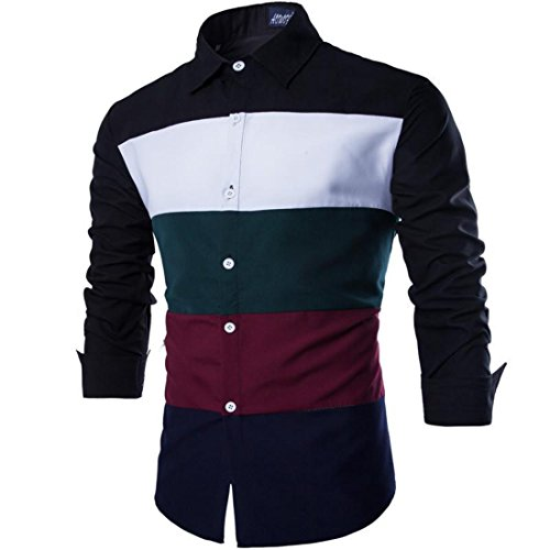 Men's Chemise Patchwork Long Sleeve Slim Fit Casual Shirts Black Sleeve