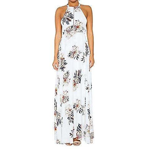 Long White Halter Dress - WANGXQ Robe Mlle Impression Harnais Halter Split