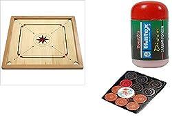 Klapp Cut Pocket Carrom Board with Coins,Striker & Wintex Disco 1 Pc Carrom Powder (Medium)