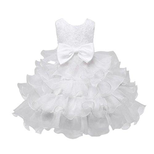 aby Mädchen Blumen Geburtstag Hochzeit Brautjungfer-Festzug Prinzessin Abendkleid (150/9-10Jahr, Weiß) (18 24 Monate-junge Halloween-kostüme)