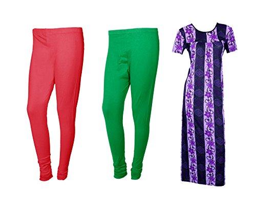 IndiWeaves Women Premium Nighty and Legging Combo Pack(Pack of 1 Nighty/Maxi and 2 Churidar Legging)_Maroon/Green/Purple_Size-XX-Large_710353673210-00-IW-L-P3-XXL