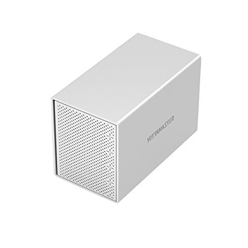 Yottamaster Aluminiumlegierung 5 Bay 3.5 Zoll USB3.0 Externe Festplatte Gehäuse SATA3.0 Unterstützung 5 x 10TB & UASP -Silber -