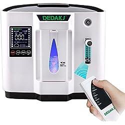 TOPQSC Portable Concentrador y generador de oxígeno 1-6L/min Oxygen Oxígeno de alta pureza Máquina Purificador de aire 90% de alta pureza para Hogar Hospital el coche y viaje (220V- Negro) (NEGRO)