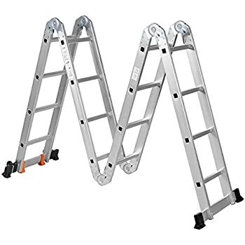 Maximum Safety Locking Hinge Weight up to 150kg LARS360 6 in 1 Multi-Purpose Ladder 4.7m Folding Extension Ladder Telescopic Ladder Extendable with 2 Aluminium Step Ladder Platforms
