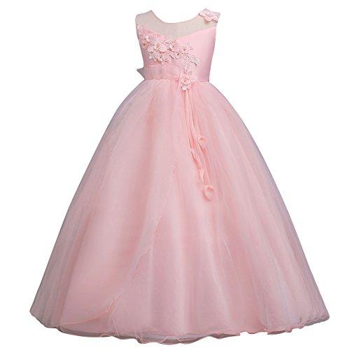 Qitun ragazze bambina principessa senza maniche elegante abito per compleanno festa matrimonio damigella d'onore prom sera vestito pink 140cm/9-10anni