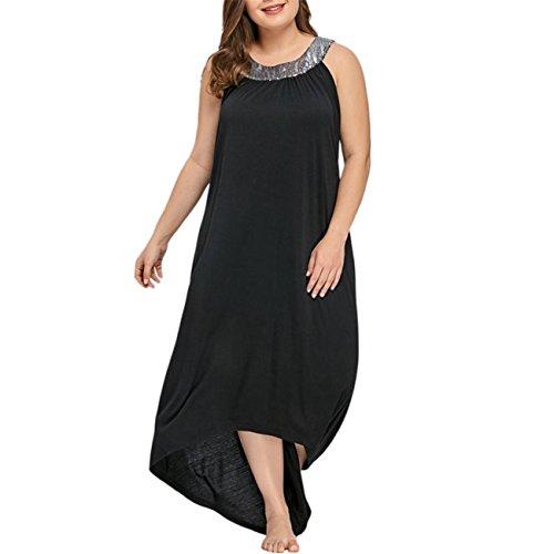 Robe Femme Ete RobeDeSoireeFemmeChic RobeCeremonieFemme Plus Size Sans Manches Perles Collar Solid Party Dress