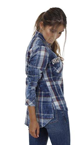 Key Largo - T-shirt de sport - À Carreaux - Manches Longues - Femme Bleu
