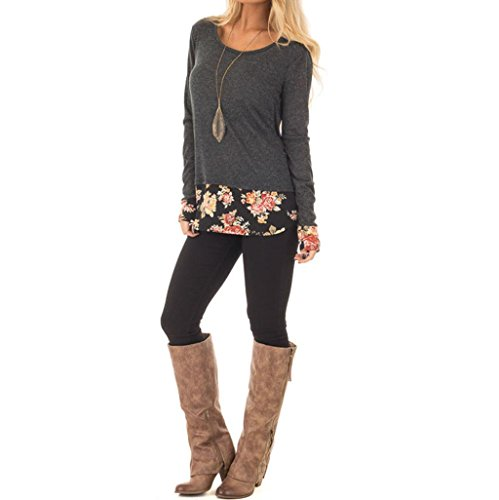Damen Bluse,BeautyTop Fashion Elegante Frauen Damen Floral Patchwork Langarm T-Shirt Tops Bluse (Grau, S)