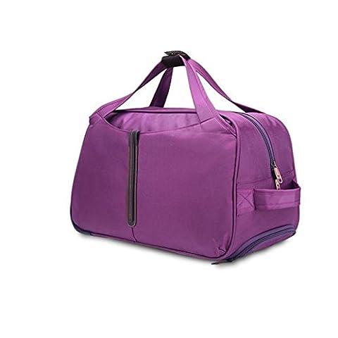 Sac de voyage à roulettes ultra léger–kingwo Roue libre à roulettes Sac à dos à roulettes Sac de voyage valise à roulettes pour chariot à bagages Sac spacieux 55*30*17cm violet