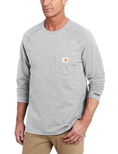 Carhartt Herren Big & Tall Force Baumwolle Langarm T-Shirt, Medium, grau meliert, 1 (Shirt Unten Von Long Unten Sleeve Nach)
