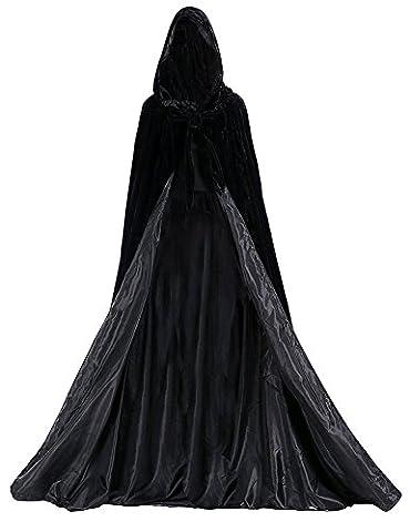 Dressvip Halloween Party Cape Longue avec Capuche en Velours Noir Cosplay Costume (XL, Noir)