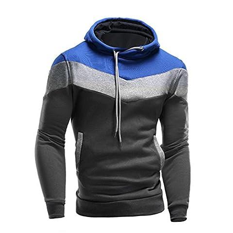 Kangrunmy Hommes Hoodie Sweat-shirt à capuche manches longues Tops épissage Stripe Jacket Coat (L, Bleu)