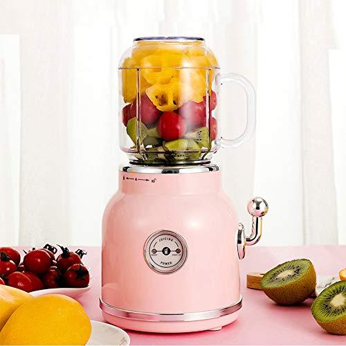 Tragbarer Saft Blender Retro Fruit Juicer Babynahrung Milkshake Multifunktions-Saft-Hersteller-Maschine leicht zu reinigen, Quiet Motor & Reverse-Funktion, BPA-frei,Rosa